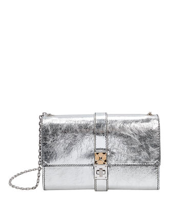 PS11 Silver Leather Clutch Chain Bag, SILVER, hi-res