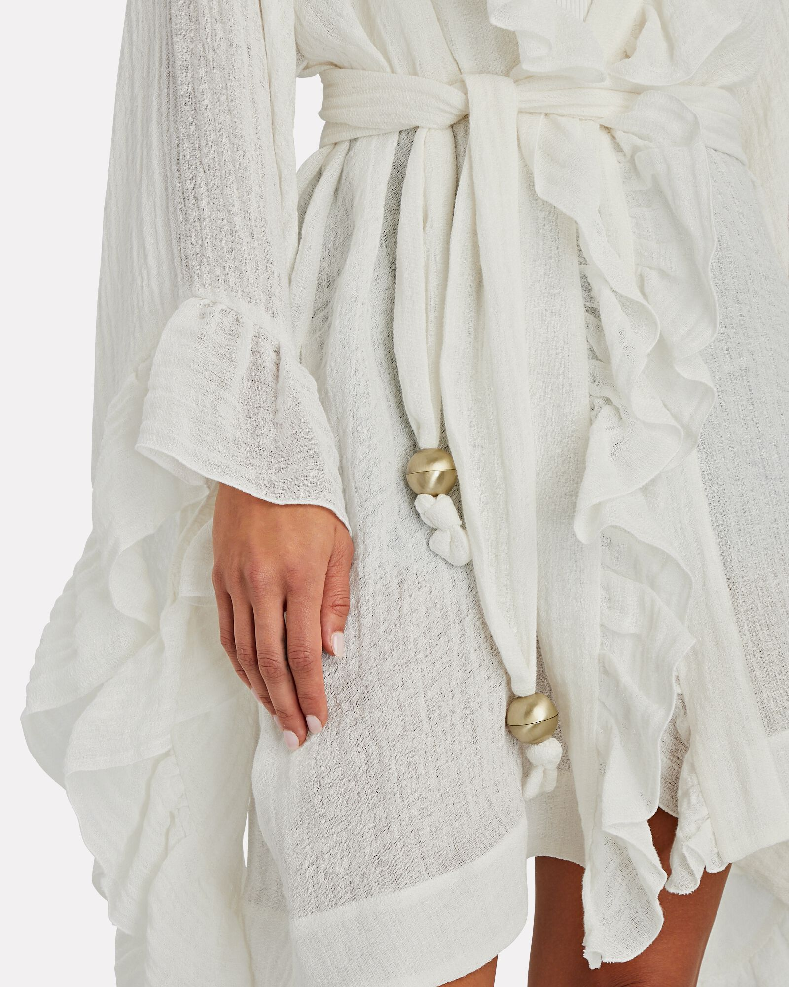 Mini Anita Ruffled Robe, WHITE, hi-res
