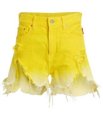 Nic Ombré Cut-Off Denim Shorts, YELLOW OMBRE, hi-res