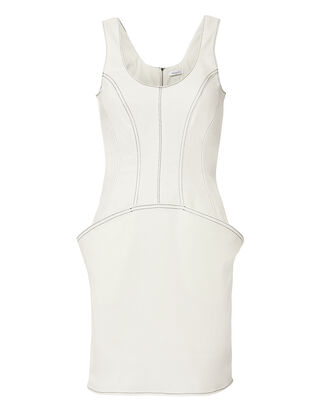 Off White Denim Dress, IVORY, hi-res