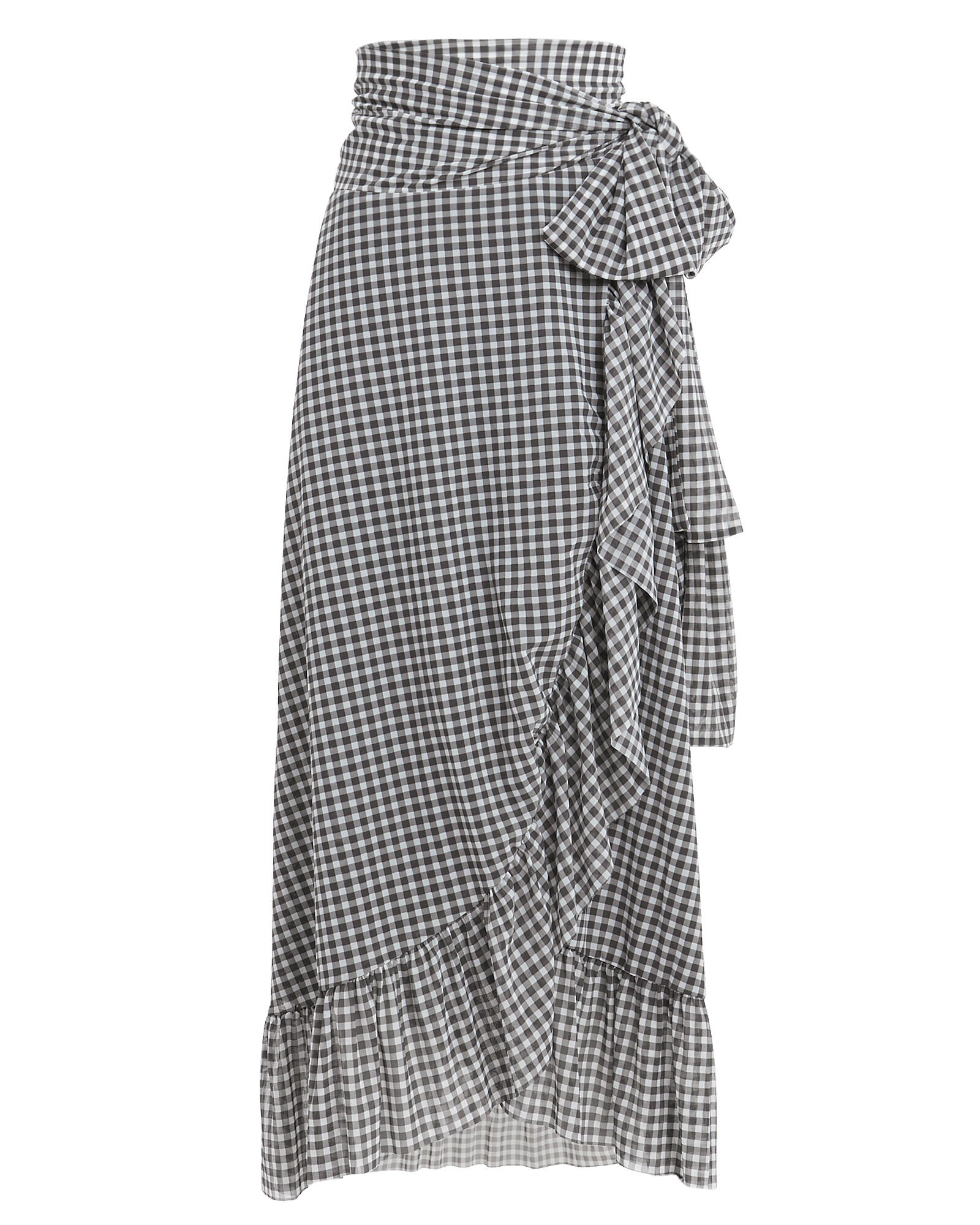 Gingham Wrap Midi Skirt, BLK/WHT, hi-res