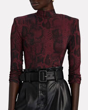Estelle Snake Print Crop Top, BURGUNDY, hi-res