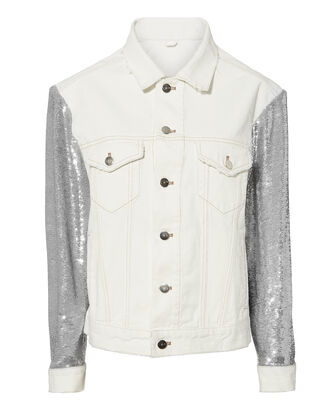 Sequined White Denim Jacket, WHITE, hi-res