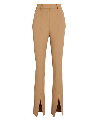 Cade High-Rise Slit Trousers, BROWN, hi-res
