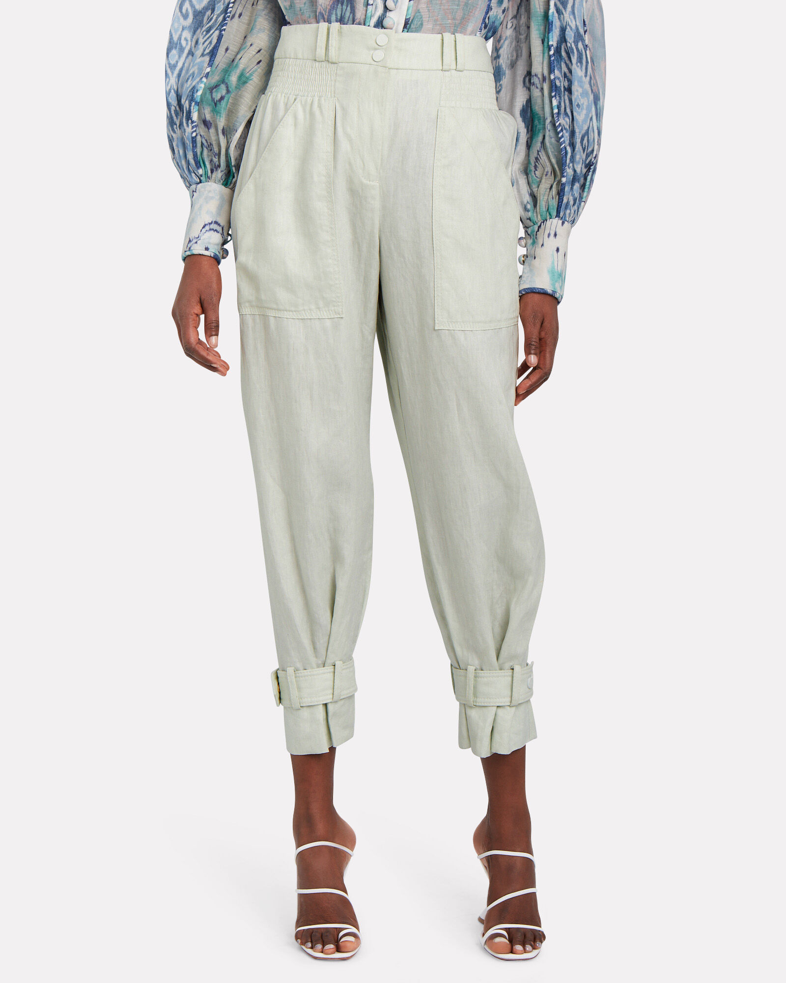 Glassy Slouch Linen Army Pants, HONEYDEW, hi-res