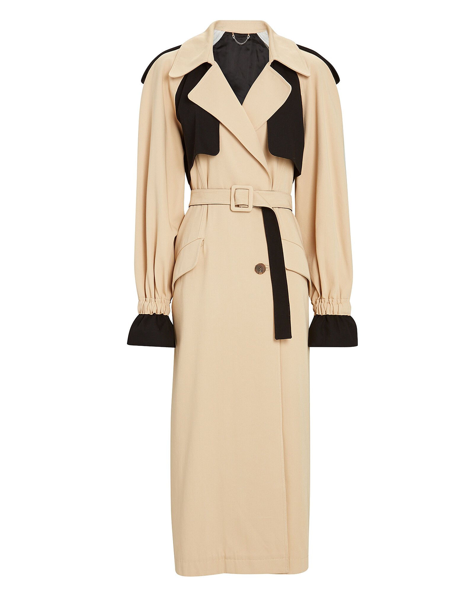Paige Colorblocked Trench Coat, BEIGE/BLACK, hi-res