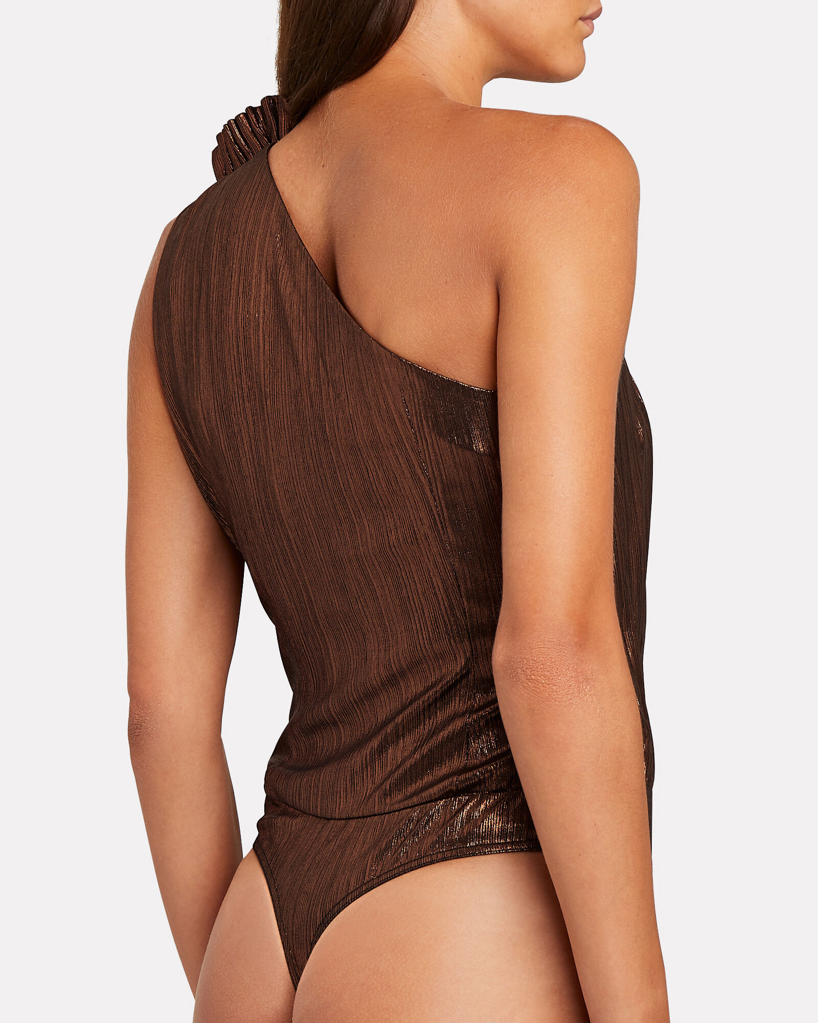 Cassie Lamé One-Shoulder Bodysuit, , hi-res