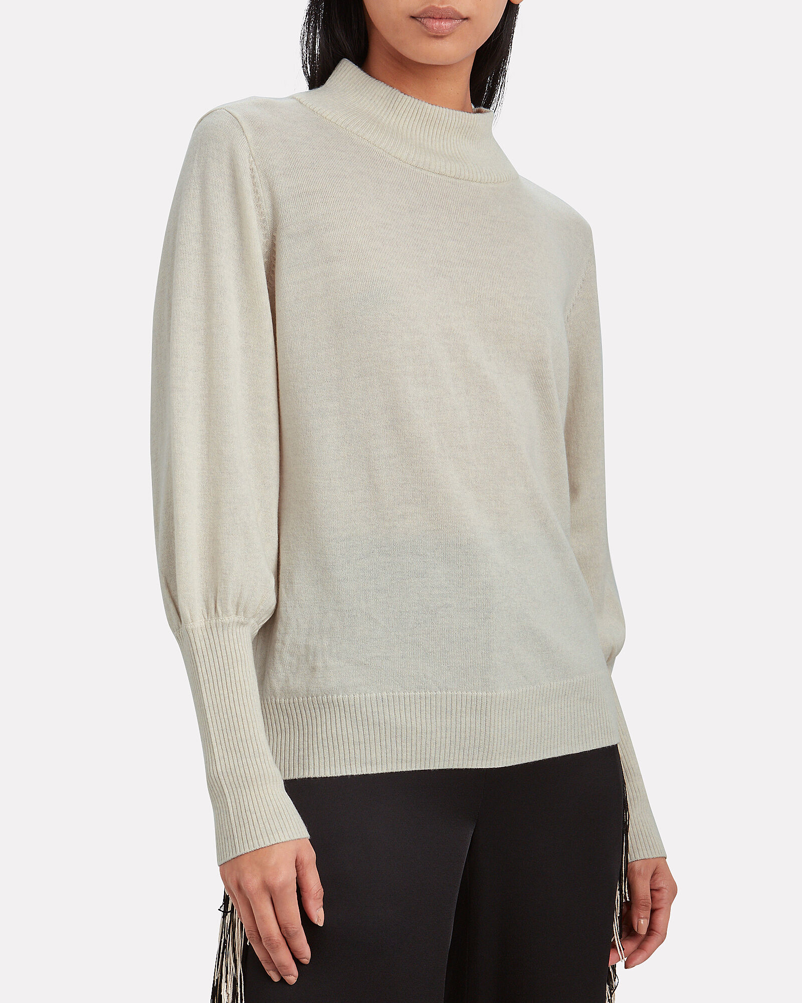 Rian Wool Mock Neck Sweater, IVORY, hi-res