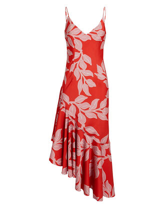 Leaf Print Midi Slip Dress, RED/PINK, hi-res