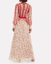 Crescent Print Maxi Dress, CREAM/RED, hi-res