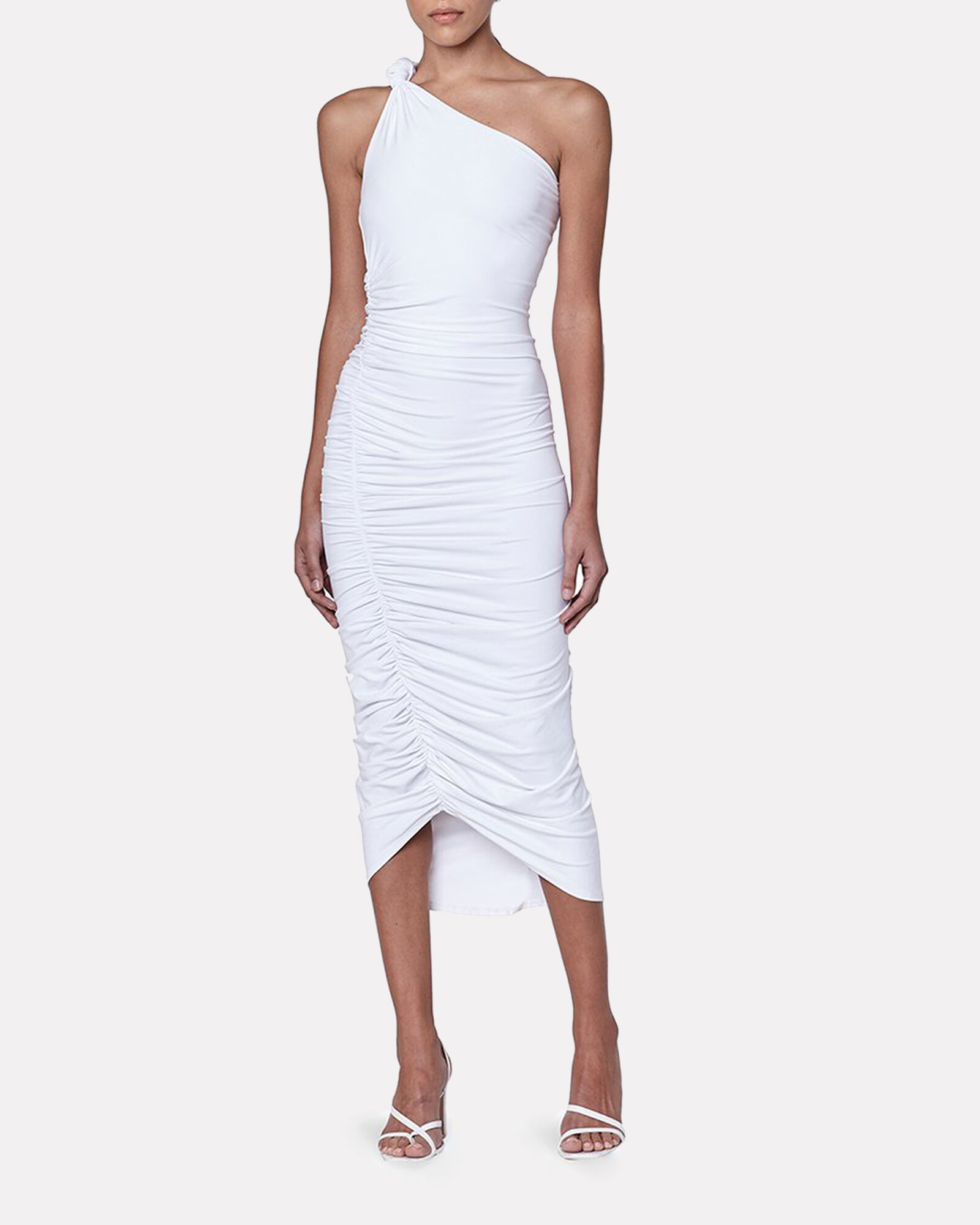 Celeste Ruched One-Shoulder Dress, WHITE, hi-res