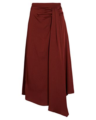 Parisa Draped Satin Midi Skirt, BROWN, hi-res