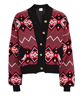 Chepstow Cotton-Wool Bomber Jacket, RED, hi-res