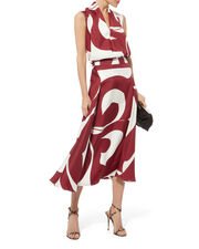Silk Printed Side Drape Skirt, RED-DRK, hi-res