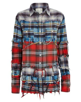 Distressed Plaid Button-Down Shirt, GREY/BLUE/RED, hi-res