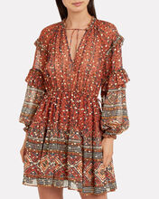 Erisa Ruffled Georgette Printed Dress, TERRACOTTA/FLORAL, hi-res