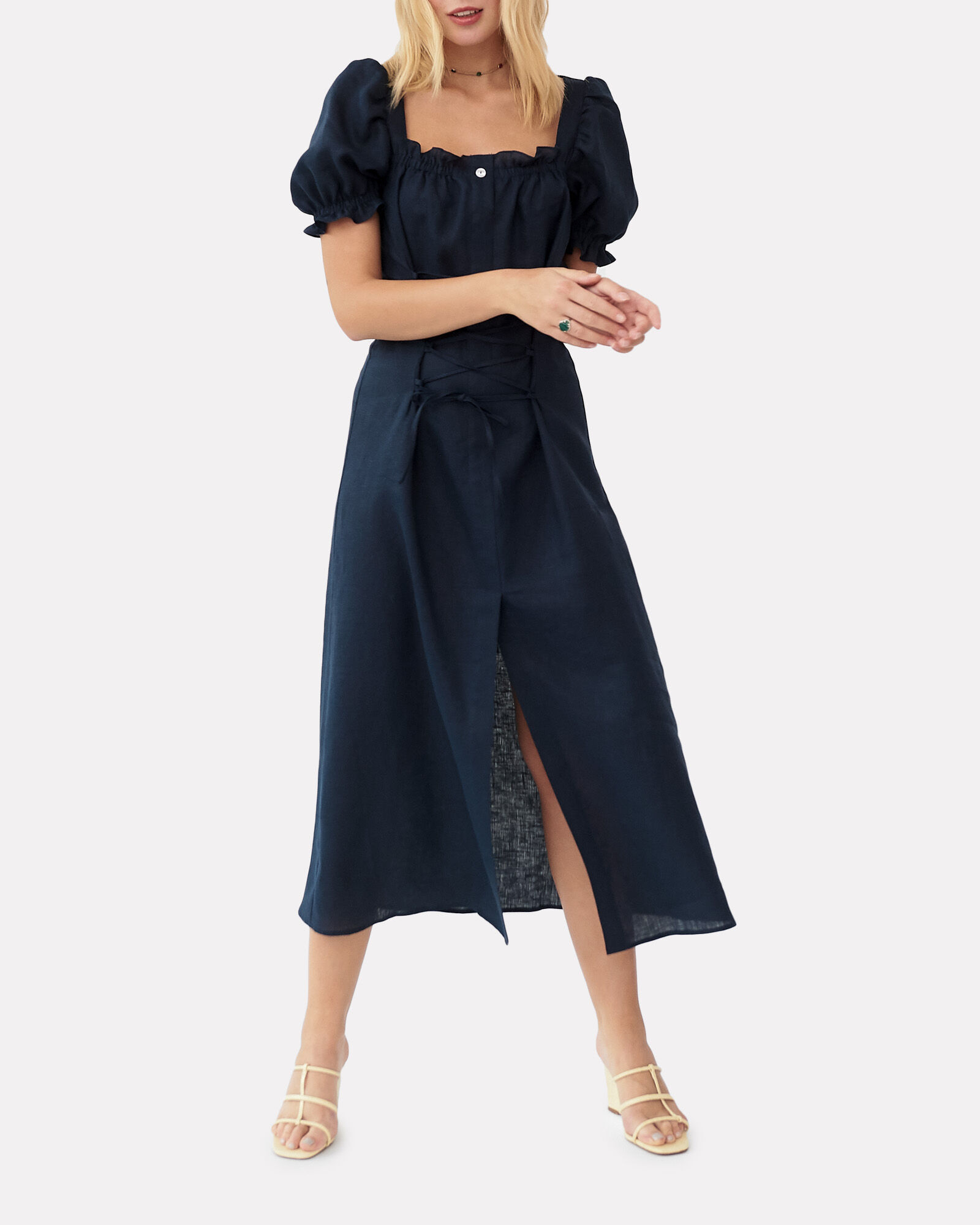 Marquise Lace-Up Linen Dress, NAVY, hi-res