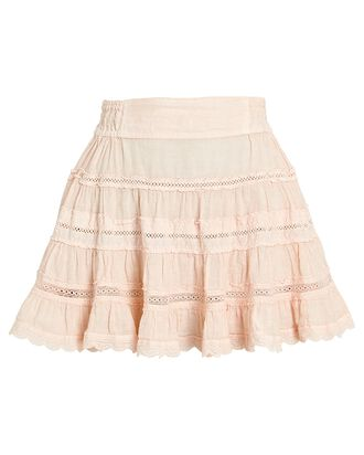 Clarisse Embroidered Linen Mini Skirt, BEIGE, hi-res