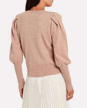 Cashmere Blouson Sleeve Sweater, WARM ALMOND, hi-res