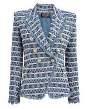 Double-Breasted Bouclé Blazer, ROYAL BLUE/IVORY, hi-res