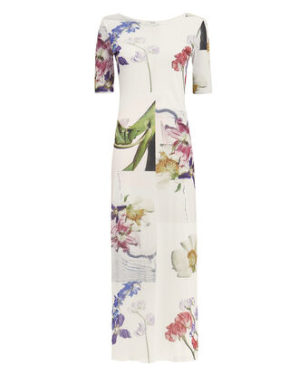 White Floral Mesh Maxi Dress, WHITE FLORAL, hi-res