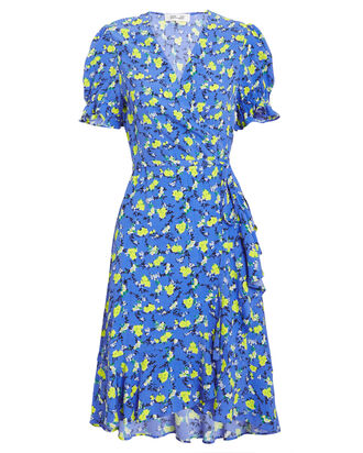 Emilia Ditsy Vines Dress, BLUE/YELLOW, hi-res