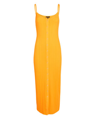 Wave Rib Knit Midi Dress, ORANGE, hi-res