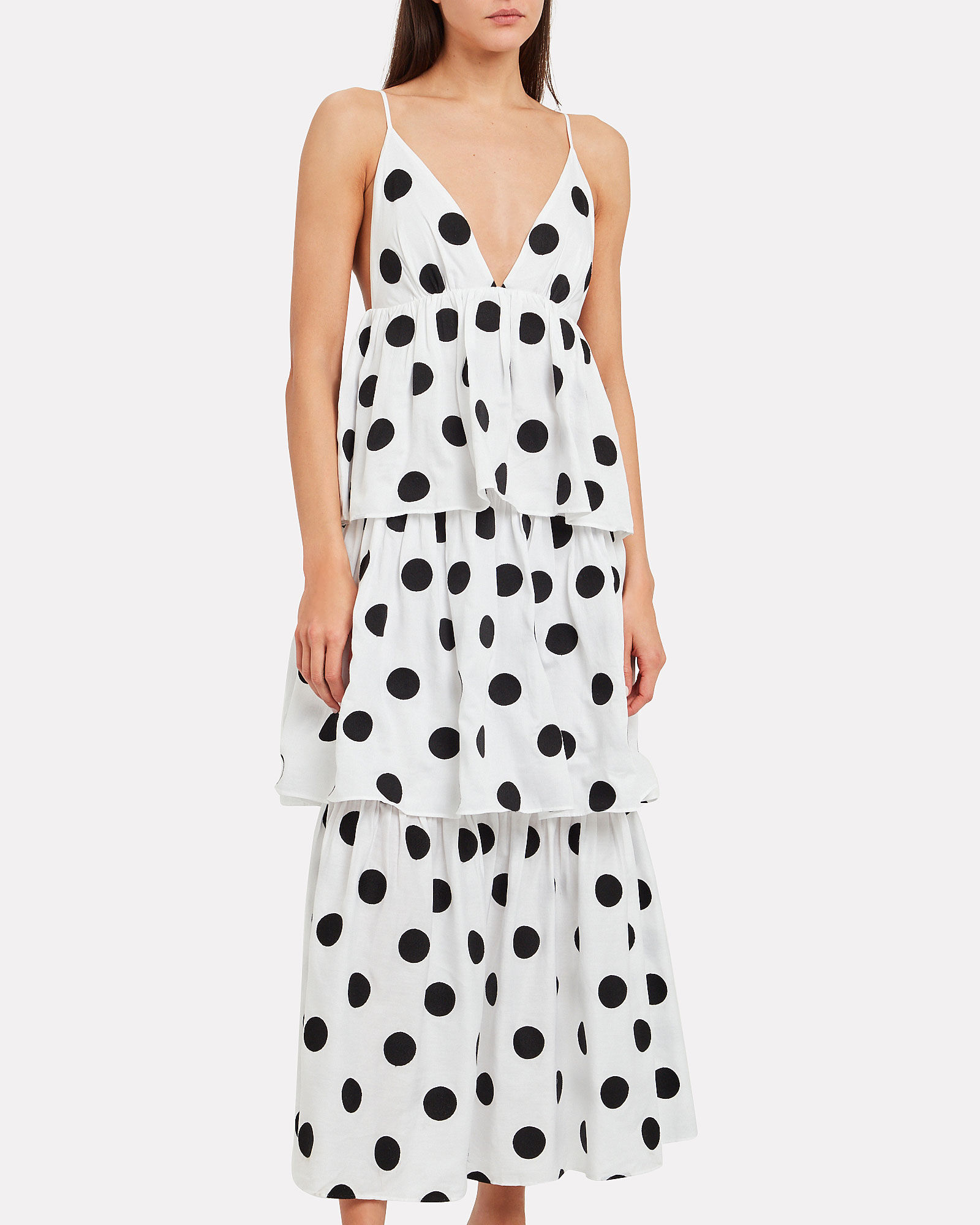 Bari Polka Dot Cotton Poplin Dress, BLACK/WHITE, hi-res