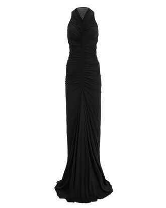 Ruched Cut Out Gown, BLACK, hi-res