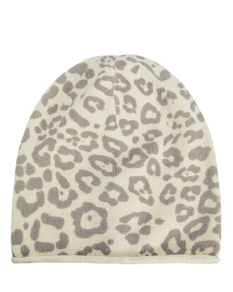 Leopard Beanie Hat, IVORY/GREY, hi-res