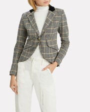 Check Print Single Button Blazer, BLACK/GOLD CHECK PRINT, hi-res