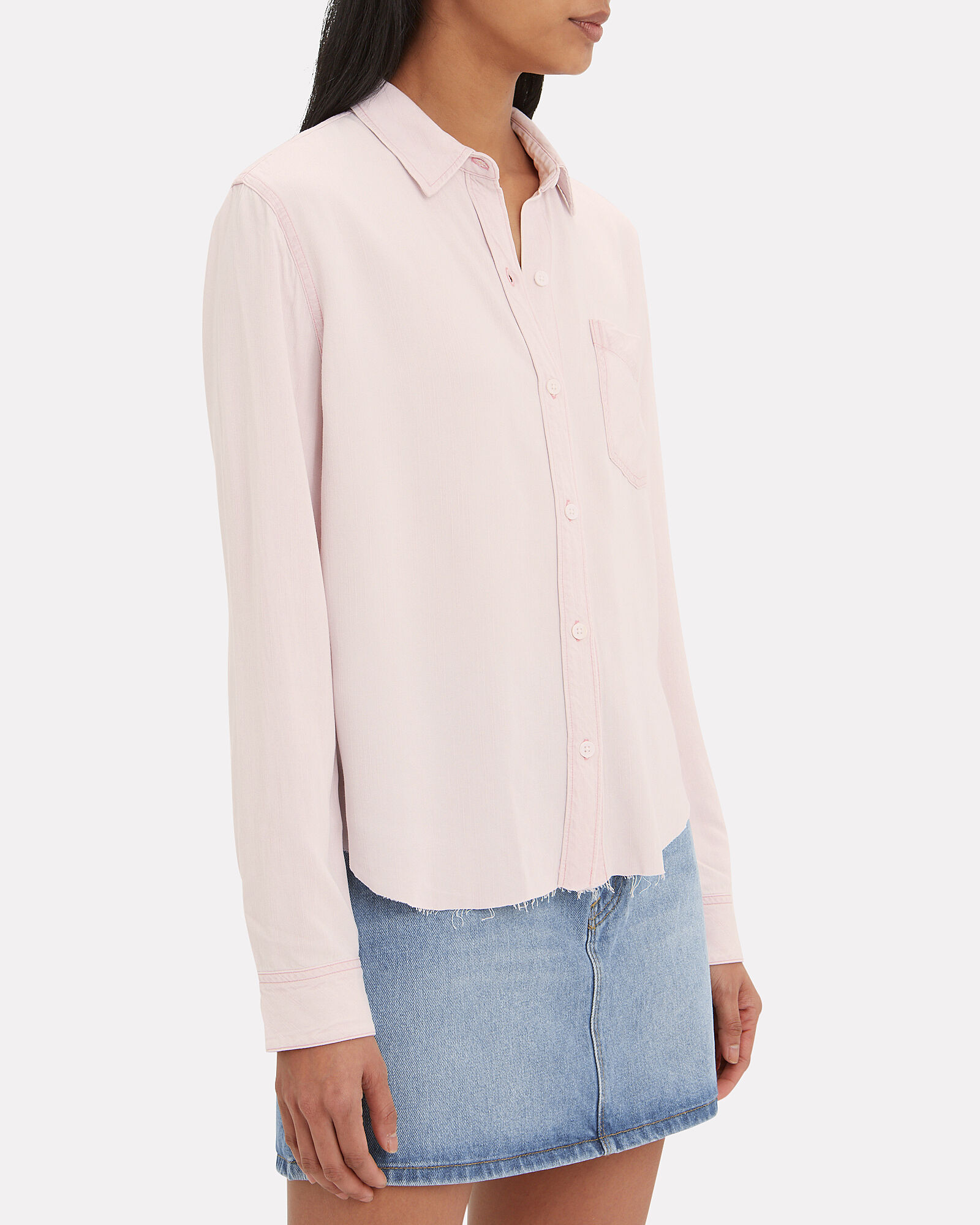 Ingrid Raw Hem Button-Down Shirt, PINK, hi-res