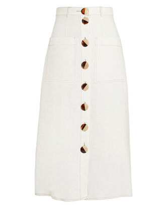 Linen Button Front Skirt, IVORY, hi-res