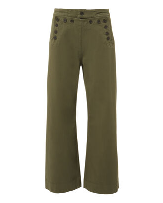 Pierce Wide Leg Cropped Pants, GREEN, hi-res