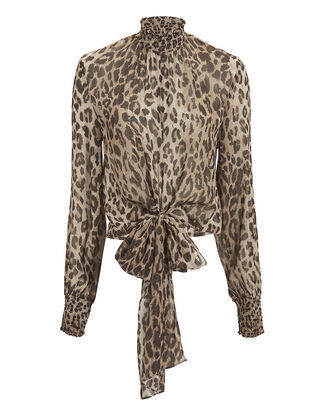 Mock Neck Leopard Blouse, MULTI, hi-res