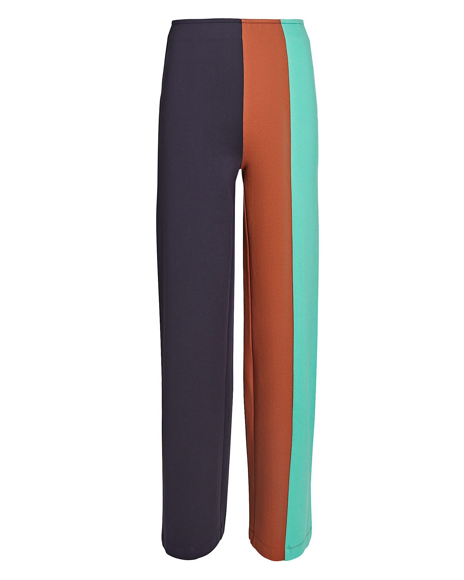 Connor Colorblocked Knit Wide-Leg Pants, NAVY/BROWN/GREEN, hi-res