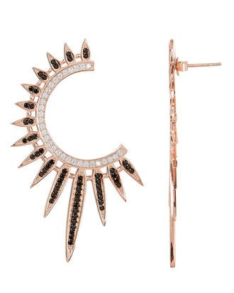 Statement Sunburst Earrings, ROSE GOLD, hi-res