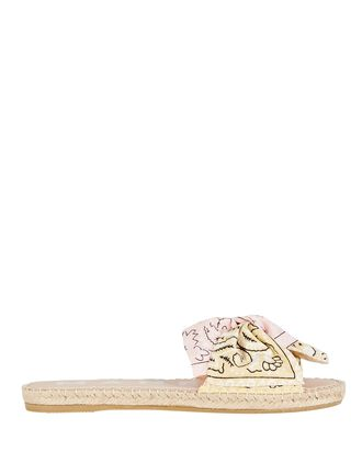 Bandana Bow Espadrille Sandals, PINK/YELLOW, hi-res