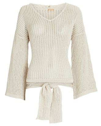 Catherine Hooded Pointelle Sweater, BEIGE, hi-res