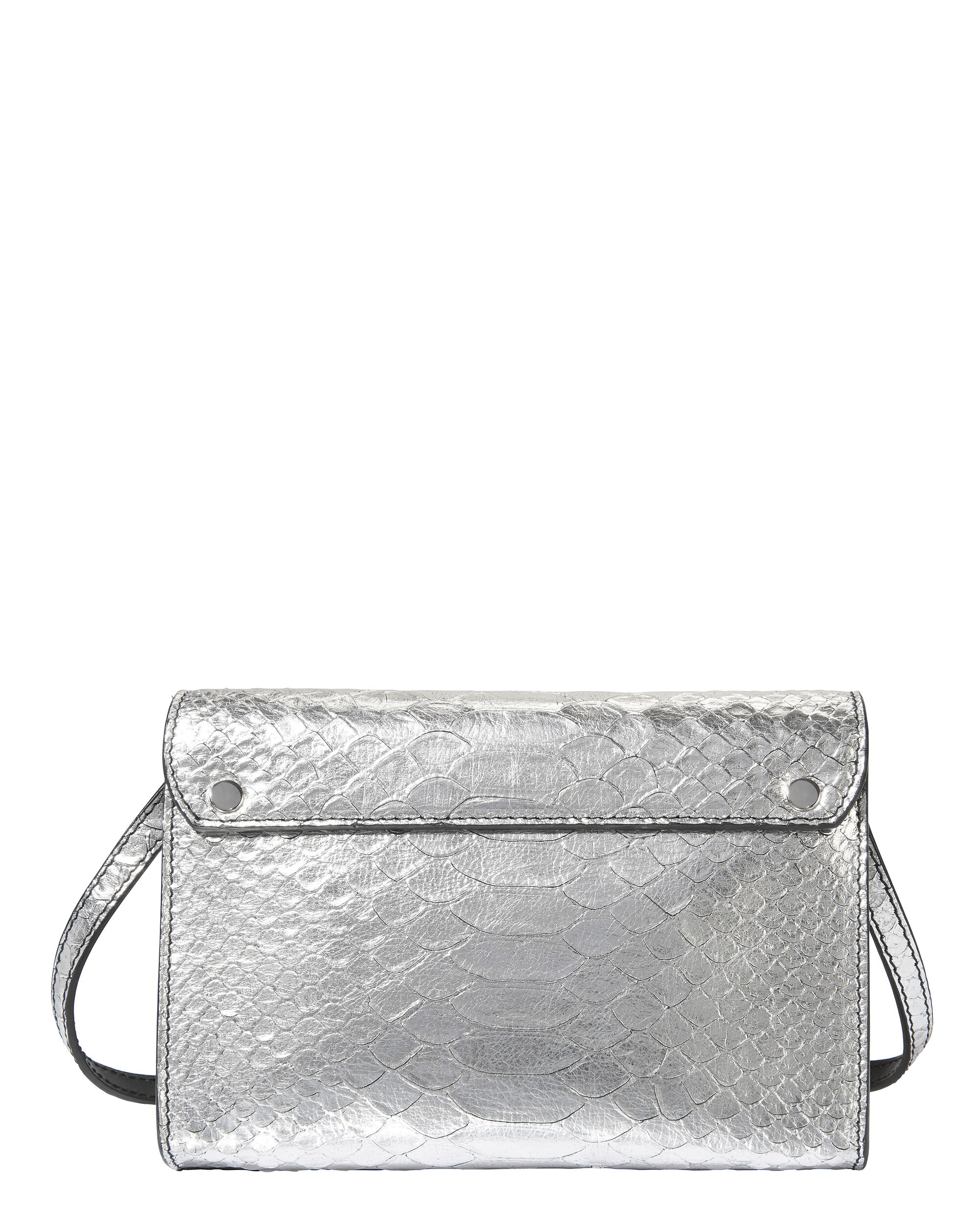 PS11 Python-Embossed Small Wallet Crossbody Bag, SILVER, hi-res