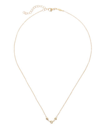 Three Diamond Emily Necklace, GOLD, hi-res