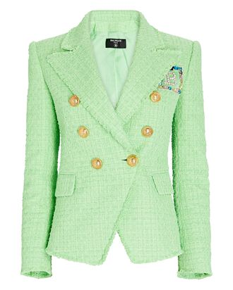 Tweed Double-Breasted Blazer, Light Green, hi-res