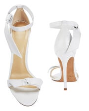 Clarita Double Bow White Leather Sandals, WHITE, hi-res
