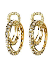 Rock Circle Crystal Earrings, GOLD, hi-res