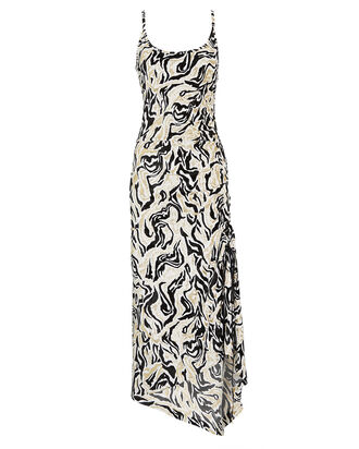 Abstract Lurex Knit Midi Dress, BLACK/WHITE/GOLD, hi-res