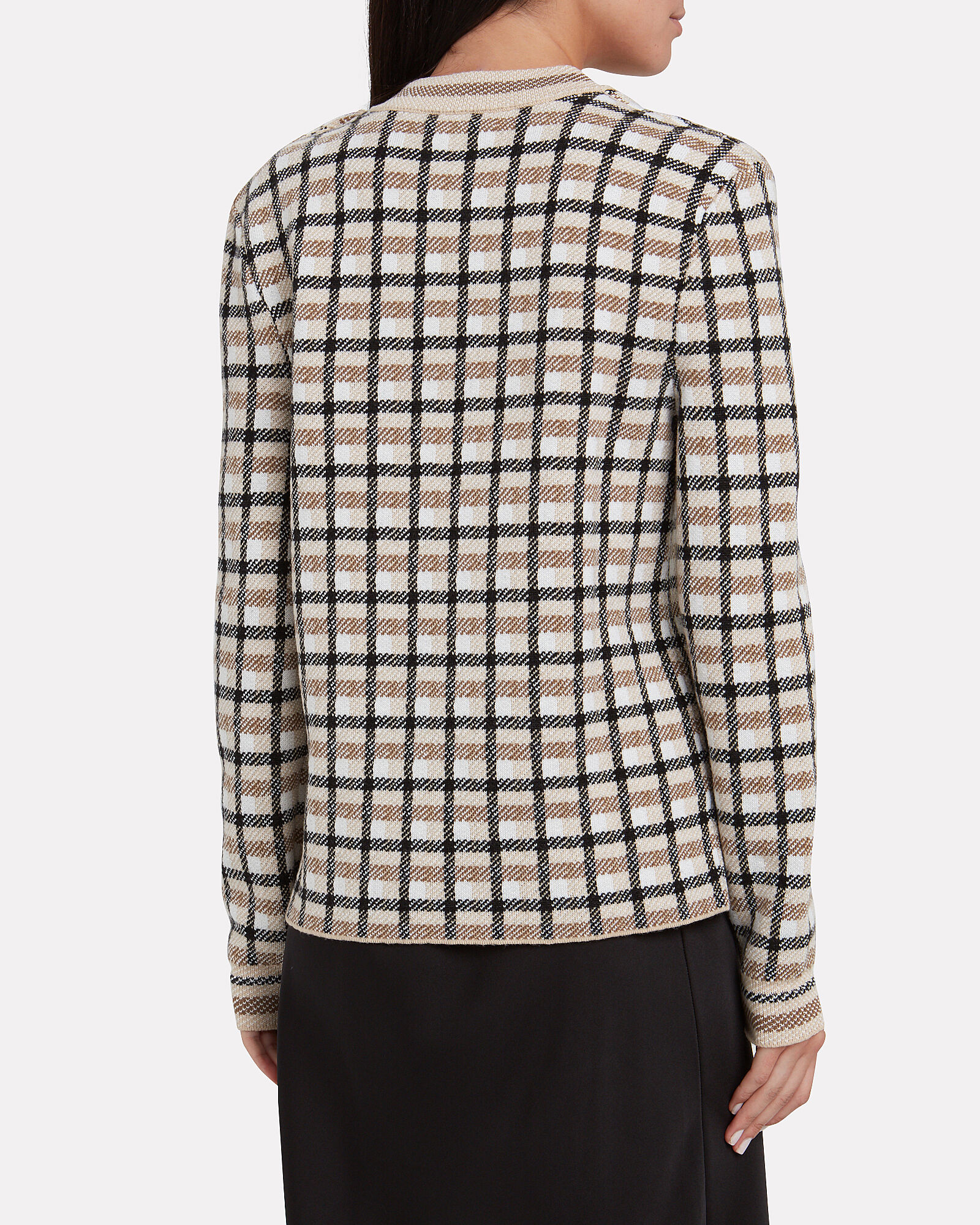 Wool Checked Crewneck Sweater, IVORY/BROWN CHECK, hi-res