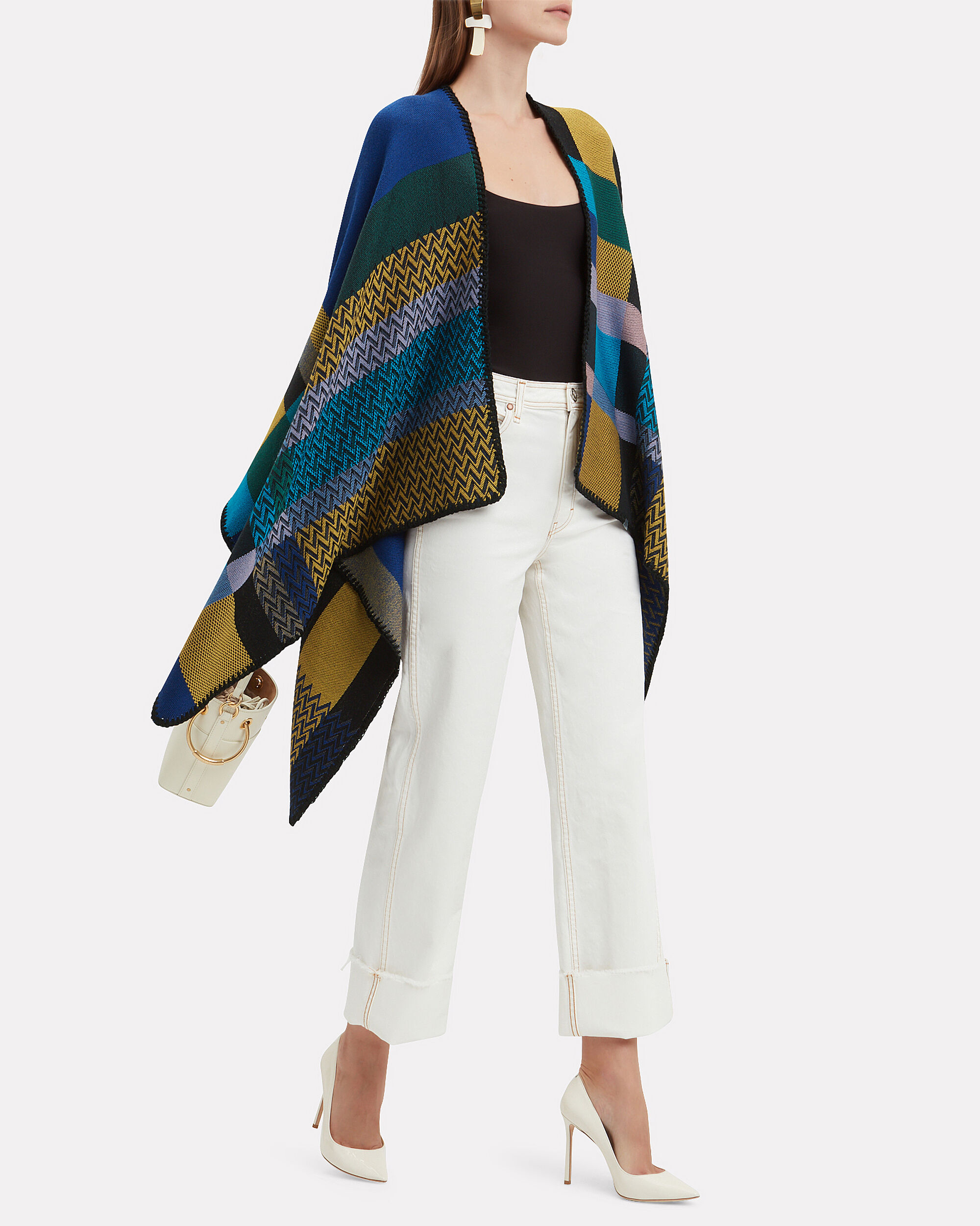 Mixed Knit Print Cape, BLUE/GOLD, hi-res