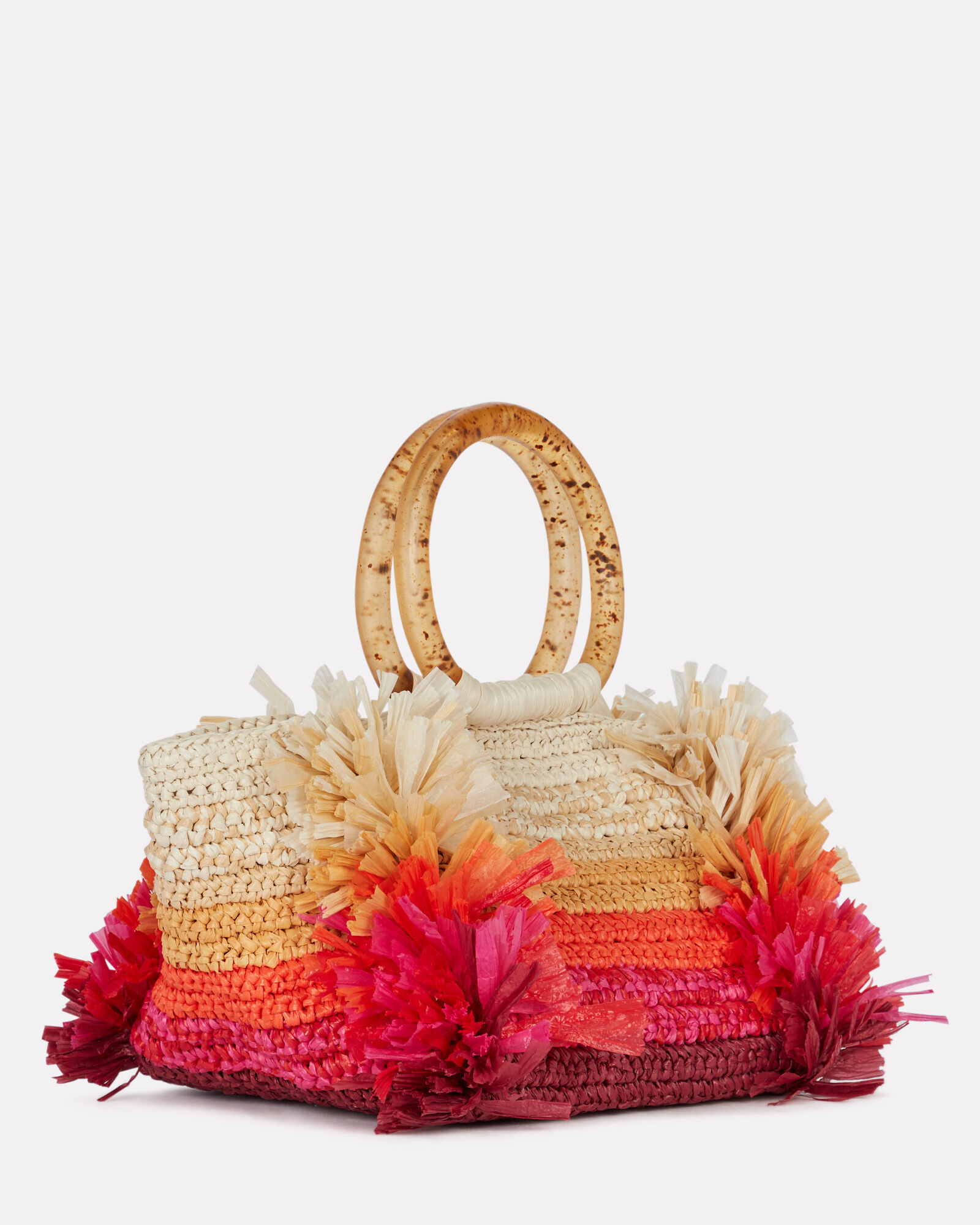 Corallina Fringed Straw Tote, ORANGE/PINK, hi-res