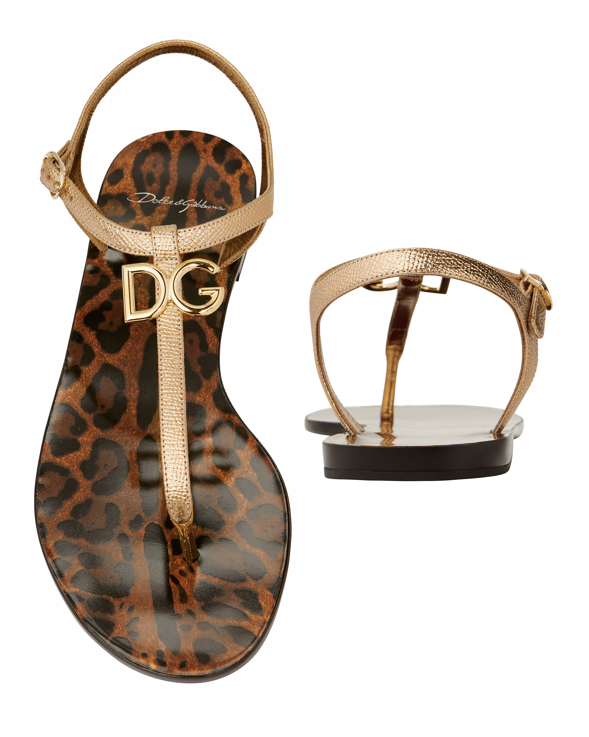 Logo-Embellished Leopard Flat Sandals, METALLIC, hi-res