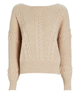 Stacia Cable Knit Dolman Sleeve Sweater, BEIGE, hi-res